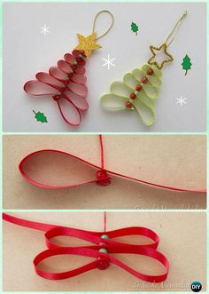 DIY Ribbon Christmas Tree Ornament Instruction-DIY Christmas Ornament Craft Ideas For Kids
