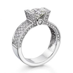 Diamond Engagement Ring in 18K Gold / White GIA Certified, Round, 1.70 Carat, D Color, SI1 Clarity