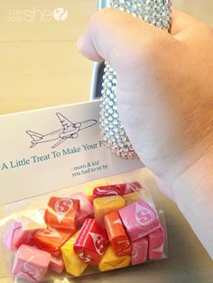 Flying with kids! Some neat ideas for handing out treats to those around you and also a reward sticker lanyard.