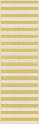 Universal Rugs Indoor Outdoor Stripe 2 ft 7 in x 7 ft 3 in Runner  Yellow *** Click image for more details.