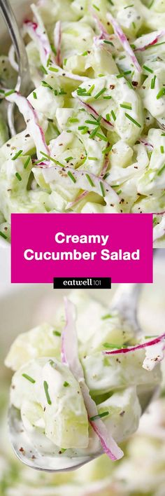 Creamy Cucumber Salad - A delicious, refreshing salad you can serve as a great side for your grilling cookouts or on its own for a light dinner.