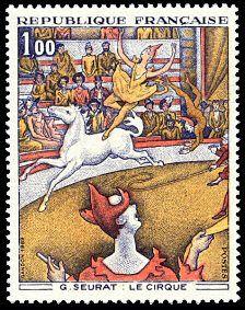 Georges Seurat «Le Cirque» - Timbre de 1969