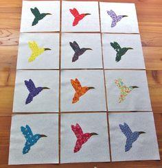 "Set of 12 Mixed Hummingbird  6"" x 6""  Cotton Quilt  Blocks    eBay"