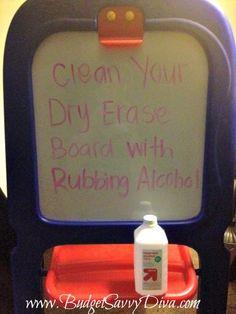 Clean Dry Erase Boards with Rubbing Alcohol, just did this on D's board and worked amazingly well!