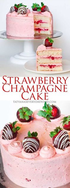 A marriage made in heaven: strawberries and champagne! This strawberry cake is a sweet delight made with champagne-flavored cake layers and frosted with a sweet and tangy strawberry frosting! Garnish this stunner with chocolate covered strawberries and yo