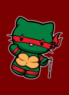 Hello Kitty ninja turtle Raphael knit graph by YeOldBallnSKein, $3.50