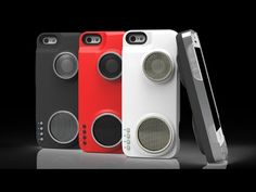 Sharing your music with others is easier than ever when you encase your smartphone using this iPhone speaker case. The case comes with a 2900 mAh battery and a compact hi-fidelity speaker with 10 times the volume capabilities of standard iPhone speakers. Concealed Carry Holsters, First Iphone, Stereo Speakers, Iphone Speakers, Boombox, Geek Gifts, Loudspeaker, Technology Gadgets, Apple Tv