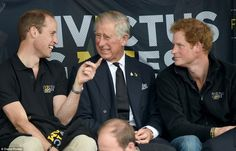 In high spirits: The three princes shared jokes and laughter throughout the day after attending a remembrance ceremony in the morning for fallen soldiers 11 sep 2014
