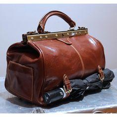 Floto Positano Italian Leather Gladstone Carryon Weekend Duffle Bag