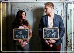 Trouwkaart foto krijtbord | wedding invitation | MEISenMANNEKE | Trendy trouwkaart met krijtbord aan achterzijde. Kleuren zijn zelf aan te passen.