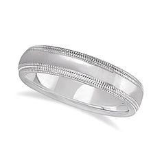 Shiny Double Milgrain Carved Wedding Ring Band 18k White Gold (4mm), Men's, Size: 10.5