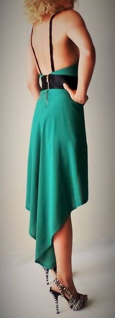 SPECIAL ORDER --------------------------- GEORGETTE & CREPE SATIN, LINED WITH FINE VISCOSE PAILLETTE SHORTS FINISHED WITH SATIN BIAS TAPE COLOR: EMERALD GREEN/ BLACK