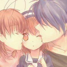 Clannad - After Story Nagisa and tomoya kissing little ushio
