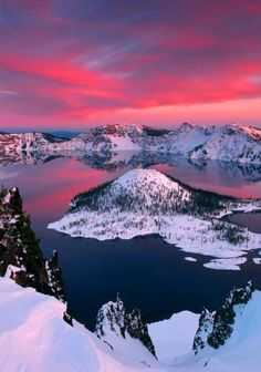 Crater Lake National Park. That is Wizard Island floating in the center.