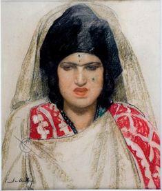 Peinture Algérie - Portrait de femme mauresque par Emile Aubry