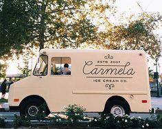 Logo design food truck script Carmela Ice Cream Co. Food Trucks, Food Design, Food Truck Design, Foodtrucks Ideas, Ice Cream Van, Ice Cream Logo, Food Vans, Coffee Truck, Food Trailer