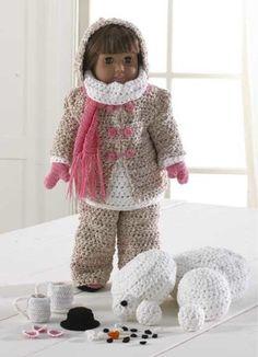 """18"""" Doll Winter Fun Crochet Pattern Set"""