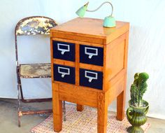 Vintage Library Card Catalog Wooden Filing Cabinet on MODULAR Stand: 4 Drawer Tiger Oak Storage Organizer -- Cards, Art Supplies, Office by MerlesVintage on Etsy https://www.etsy.com/listing/494149391/vintage-library-card-catalog-wooden