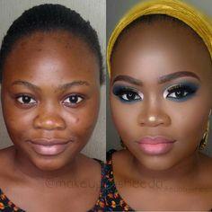 Read more about makeup tips & techniques Black Bridal Makeup, Makeup For Black Skin, Black Girl Makeup, Bridal Makeup Looks, Girls Makeup, Day Makeup, Makeup Tips, Beauty Makeup, Makeup Before And After