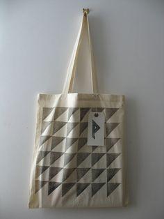 Demi - hand printed cotton tote bag (black)