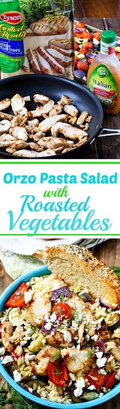 Orzo Pasta Salad with Roasted Vegetables- so easy to throw together with Tyson Grilled & Ready Chicken and WIshbone Dressing. #ad