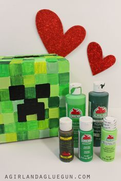 Minecraft Valentine's Box - Super adorable DIY Valentine's Day Card Box holder or candy/treat box idea! Such a cute craft for your boys or girls classroom Valentines party at school! #plaidcrafts #modpodge #applebarrel