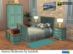 Bedroom with double bed bedside table lamp wardrobe dresser with mirror trunk and some decorative Found in TSR Category 'Sims 4 Adult Bedroom Sets' Living Room Sims 4, Sims 4 Bedroom, Room Ideas Bedroom, Bedroom Sets, Los Sims 4 Mods, Muebles Sims 4 Cc, Pelo Sims, Sims 4 Toddler, Parents Room