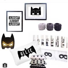 Our batman marquee light, with a monochrome flat lay featuring batman goodness!