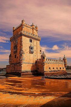 Torre de Sao Vicente or Belem Tower is a fortified tower located in Santa Maria de Belem, Lisbon, Portugal.The tower was commissioned by King John ll to be part of a defense system at the mouth of the Tagus River and a ceremonial gateway to Lisbon, Portugal.  A UNESCO World Heritage Site since 1983.  Photo: google+