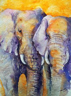 Elephant+Couple+Original+Watercolor+Painting+9x12+by+artiart,+$79.00