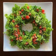 【 #みぽらんち 】 #伊右衛門農園 のわさび菜とルッコラで #リースサラダ を作りました。