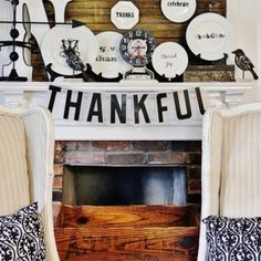 Thankful banner stunning Thanksgiving mantel  from getitcut.com