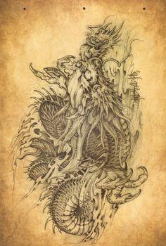 japanese tattoos for women Dragon Tattoo Colour, Dragon Tattoo Art, Dragon Tattoo Designs, Japanese Tattoo Art, Japanese Tattoo Designs, Body Art Tattoos, Sleeve Tattoos, Dragons, Dragon Sketch