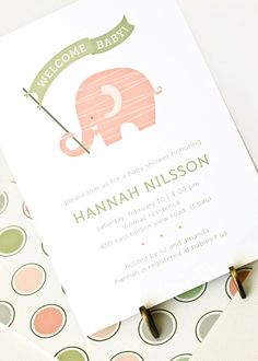 Cards Inspired - Elephant Baby Shower Invitation, Girl Baby Shower Invite // PINK ELEPHANT, | Cards Inspired
