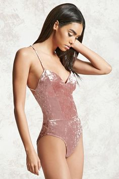Crushed Velvet Caged Bodysuit