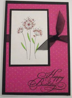 Birthday Greeting Card  Handmade Bright Pink Flowery by kattfive, $3.00
