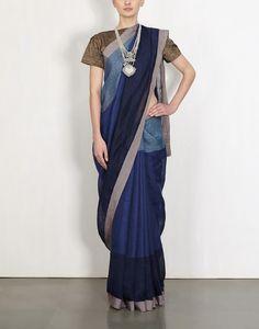 Indigo Cotton Border Linen Sari-ANAVILA- img1
