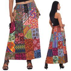 Langer Hippie Batik Patchwork Rock Baumwolle von Princess of Asia auf DaWanda.com