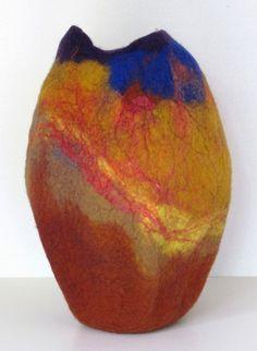 "Amy M. Fiber Designs: Large vessels ""Spice Market 2"" felt and silk"