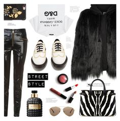 """Winter Street Style"" by ames-ym ❤ liked on Polyvore featuring House of Fluff, Dolce&Gabbana, Burberry, Tommy Hilfiger, Valentino, leatherpants, fauxfur and hoodiecoat"