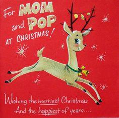 #1640 50s Norcross Leaping Glittered Deer-Vintage Christmas Card-Greeting | eBay