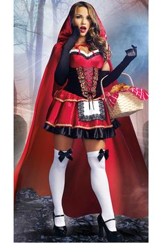 Little Red Costume, Sexy Red Riding Hood Costume, Little Red Riding Hood Costume Sexy Adult Costumes, Sexy Costumes For Women, Sexy Halloween Costumes, Halloween Fancy Dress, Halloween Ideas, Adult Halloween, Halloween Party, Looks Pinterest, Hot Goth Girls