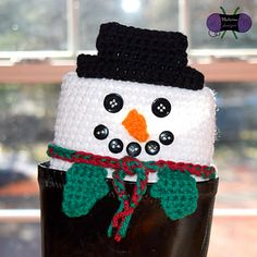 Peeping Snowman Boot Cuffs crochet pattern (1 of 6 xmas themed designs) by Blackstone Designs