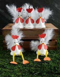 Bekijk de foto van Homemade By Joke met als titel Kippen van een eierdoos maken. Leuk om te knutselen voor Pasen. Een DIY staat op mijn blog Homemade by Joke. en andere inspirerende plaatjes op Welke.nl.