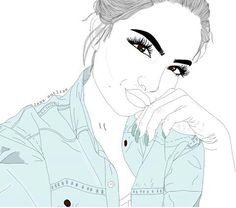 Find images and videos about girl, beautiful and art on We Heart It - the app to get lost in what you love. Tumblr Girl Drawing, Tumblr Drawings, Cartoon Girl Drawing, Girl Cartoon, Cartoon Art, Tumblr Outline, Outline Art, Outline Drawings, Pencil Art Drawings