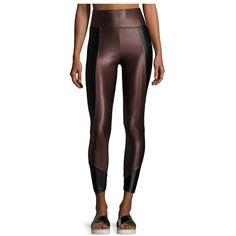 Koral Curve MidRise Crop Leggings ($110) ❤ liked on Polyvore featuring pants, leggings, athletic wear, black, shiny pants, cropped leggings, shiny leggings, wet look leggings and crop length pants