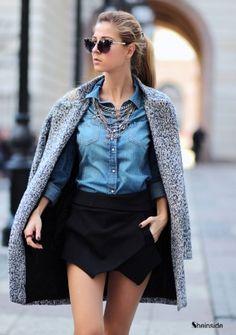 Grey Long Sleeve Single Button Tweed Coat -SheIn(Sheinside)