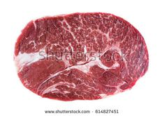 Chuck fresh raw beef steak isolated on white background, top view