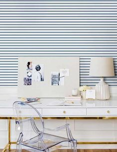 Caroline on Design favorite online sources to buy wallpaper. Lulu and Georgia blue and white striped wallpaper. #stripedwallpaper #bluewallpaper