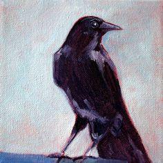 Raven Crow Blue Black Bird Portrait Oil Painting by smallimpressions